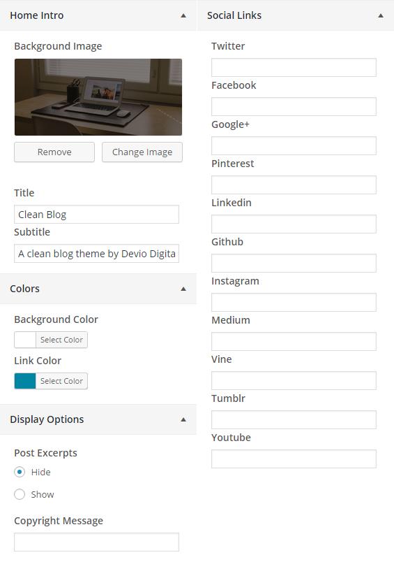 Customizer options