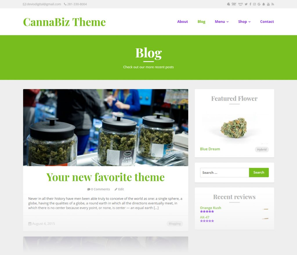 CannaBiz WordPress theme