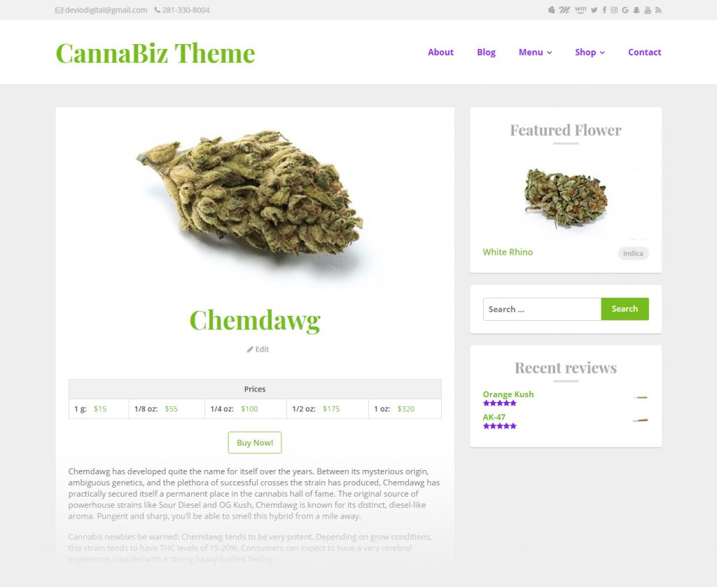 CannaBiz WordPress theme - WP Dispensary menu item display
