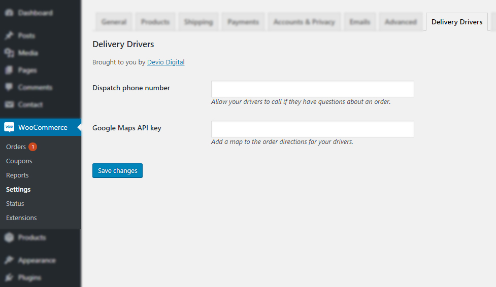 Delivery Drivers for WooCommerce Settings screenshot
